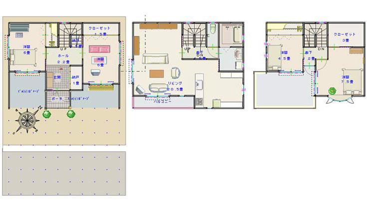 収納を考えた3階建ての住まい(間取り掲示板) e-houseの間取り